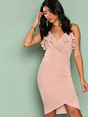 Ax Paris Frill Wrap Dress Blush