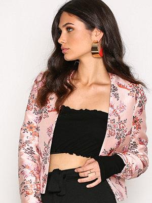 New Look Satin Floral Bird Jacquard Jacket Pink