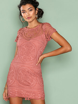 Love Triangle Amalfi Lace Mini Dress Dark Rose