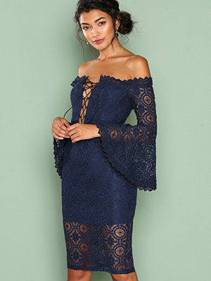 Love Triangle Arlo Lace Off Shoulder Dress Navy