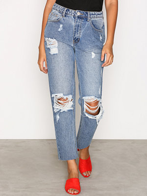 Glamorous Destroy Mom Jeans Mid Blue