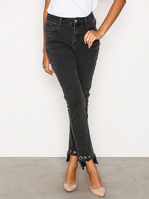 Glamorous Detail Hem Jeans Washed Black