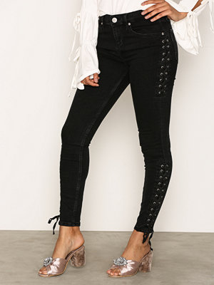River Island Side Lace Up Jeans Washed Black