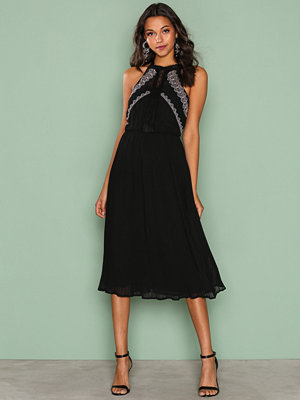 River Island SL Nile Embroidered Dress Black