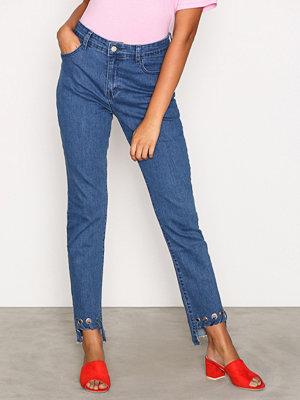Glamorous Detail Hem Jeans Mid Blue