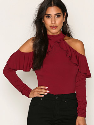NLY One Frill Shoulder Top Wine