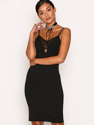 New Look Fishnet Bodycon Dress Black