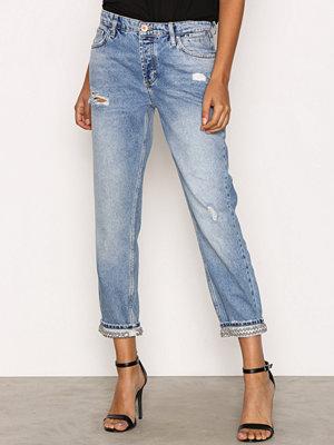 River Island Bling Hem Jeans Mid Blue