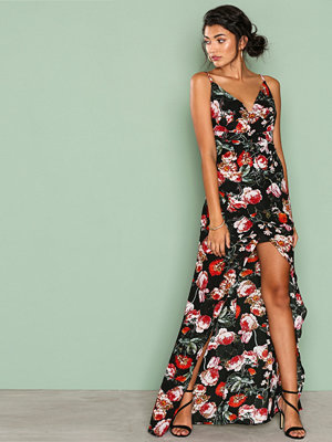 Missguided Cowl Front Wrap Maxi Dress Black