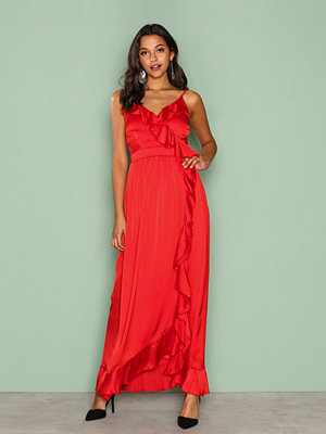 Little Mistress Wrap Ruffle Front Maxi Dress Red