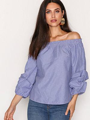 NLY Trend Off Shoulder Sleeve Blouse Blå/Randig