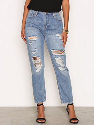 River Island Wash Ripped Mom Jeans Mid Blue