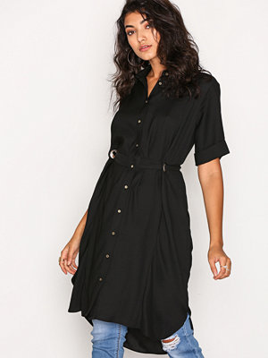 River Island LS Eyelet Shirt Dress Black
