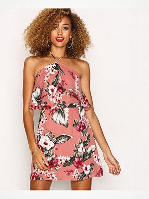 Missguided Rose Pink Floral Print Halterneck Mini Dress Pink