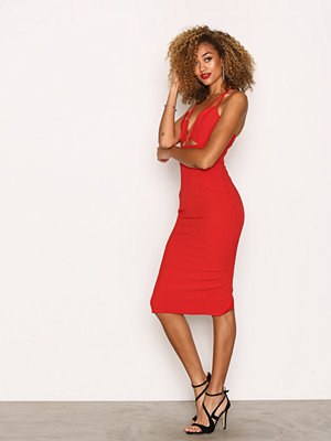 Missguided Cut Out Plunge Midi Dress Red