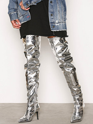 NLY Shoes Thigh High Stiletto Boot Silver