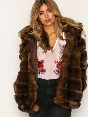 NLY Trend Puffy Fur Coat Brun