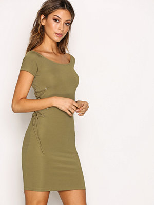Topshop Rib Lace Up Bandeau Dress Khaki