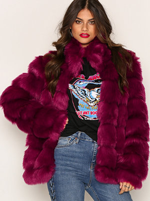 NLY Trend Puffy Fur Coat Fuchsia