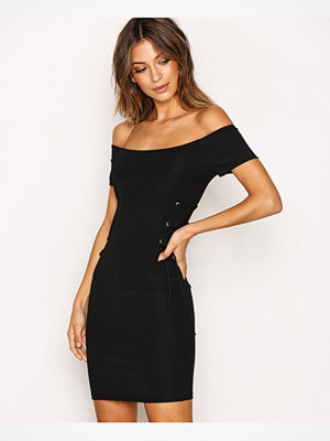 Topshop Rib Lace Up Bandeau Dress Black