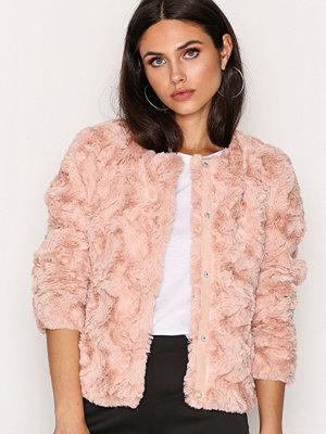Vero Moda Vmcurl Short Fake Fur Jacket Ljus Rosa