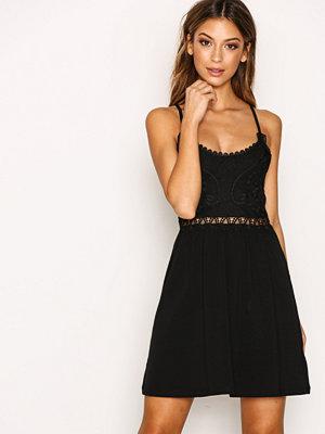 Topshop Crochet Lace Insert Dress Black