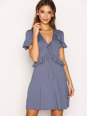 Topshop Tie Front Frill Dress Grey