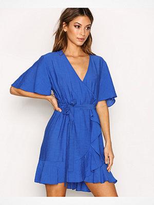 Topshop Linen Ruffle Wrap Dress Blue