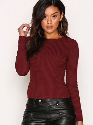 NLY Trend Wide Rib Top Burgundy
