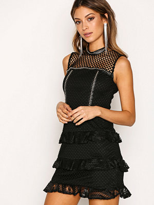 Glamorous Lace Frill Dress Black