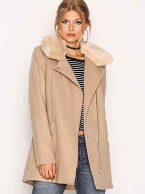 River Island Fur Collar Jacket Camel