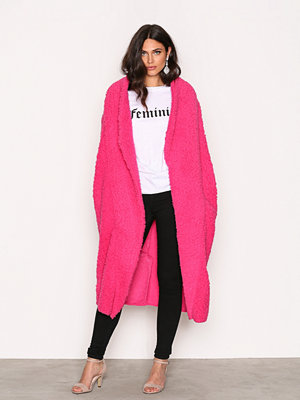 NLY Trend Teddy Maxi Jacket Bright Pink