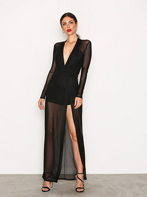 NLY One Mesh High Slit Dress Svart