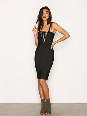 Missguided Cross Front Detail Bandage Dress Black