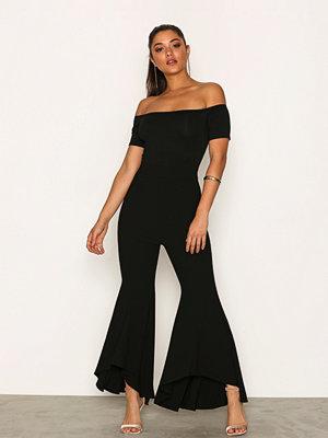 Ax Paris Short Sleeve Bardot Jumpsuit Black