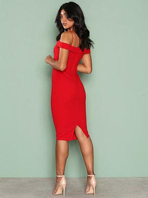 Ax Paris Bardot Strap Bodycon Dress Red