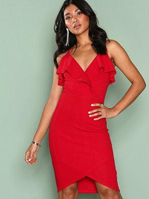 Ax Paris Frill Wrap Dress Red