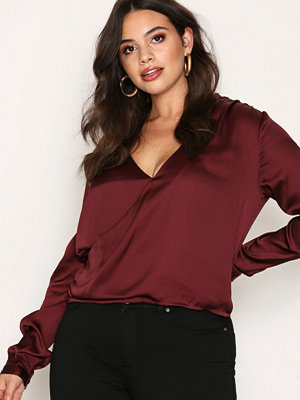 NLY Trend Wrap Me Blouse Burgundy