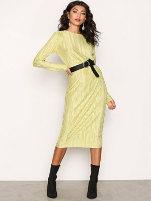 NLY Trend Pleated Midi Dress Lime