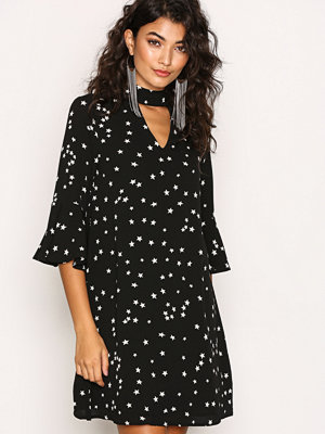 Glamorous Trumpet Sleeve Dress Black