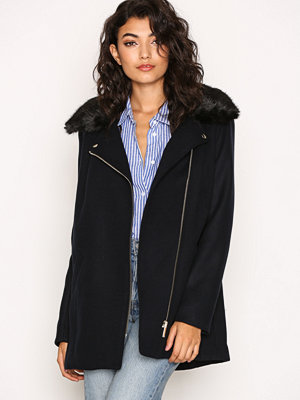 Kappor - River Island Fur Collar Jacket Navy