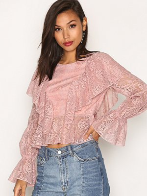 Blusar - Missguided Lace Frill Front Blouse Pink