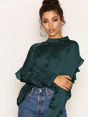NLY Trend Flounce Sleeve Blouse Grön