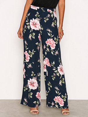 Byxor - New Look Floral Wide Leg Trousers Blue