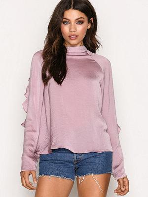 NLY Trend Flounce Sleeve Blouse Rosa