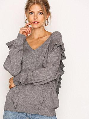 Selected Femme Sffrilla Ls V-Neck Knit Grå