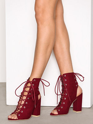 NLY Shoes Lace Up Block Sandal Burgundy