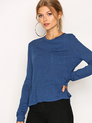 T By Alexander Wang Cropped Long Sleeve Tee w/ Chest Pocket Ocean