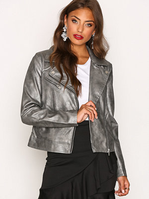Only onlPHOEBE Faux Leather Biker Otw Mörk Grå