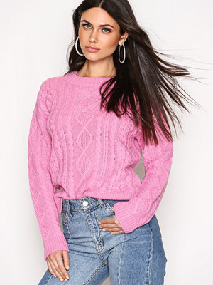 Tröjor - NLY Trend Cable Knit Sweater Rosa